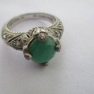 Judith Ripka Goddess green  Ring sterling silver 8